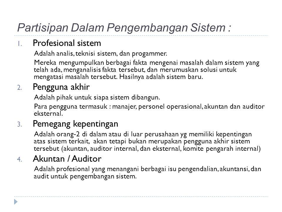 Partisipan Dalam Pengembangan Sistem :