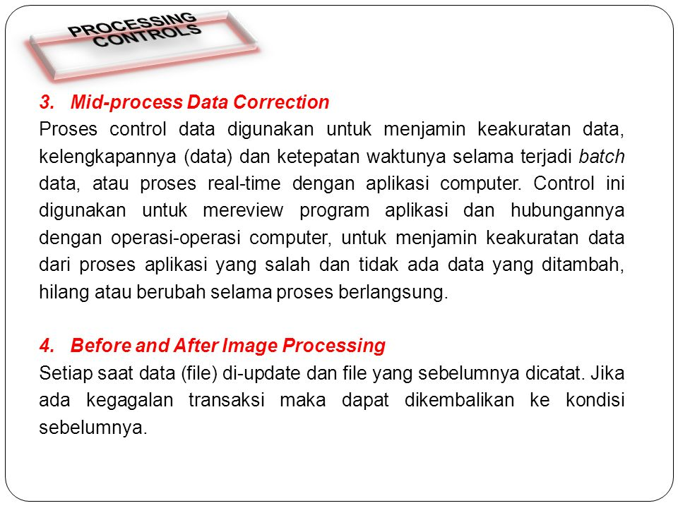 PROCESSING CONTROLS 3. Mid-process Data Correction