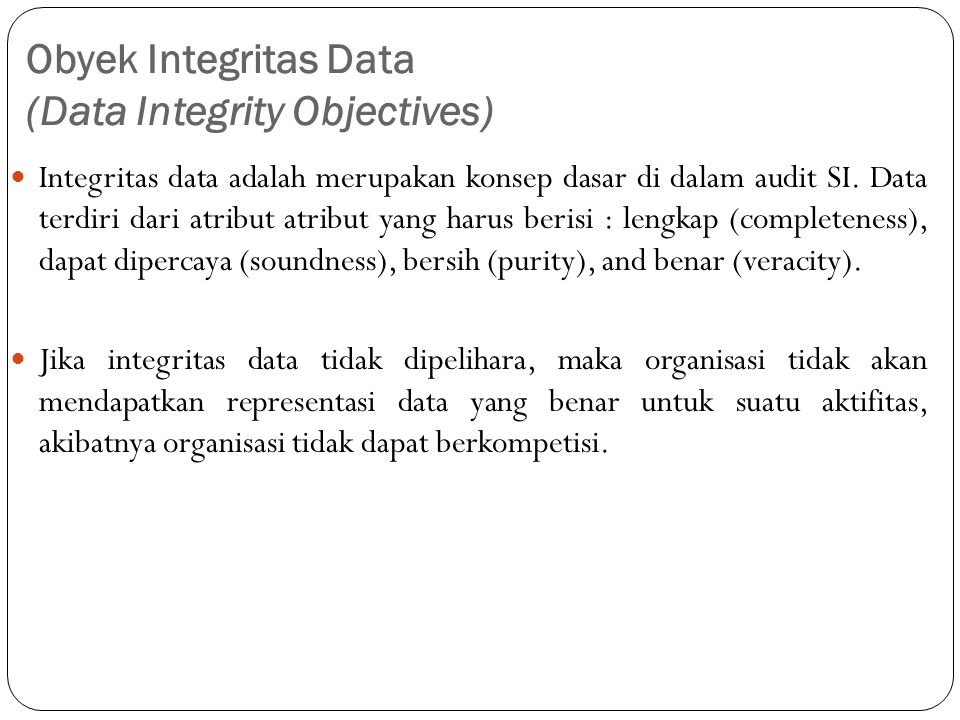 Obyek Integritas Data (Data Integrity Objectives)