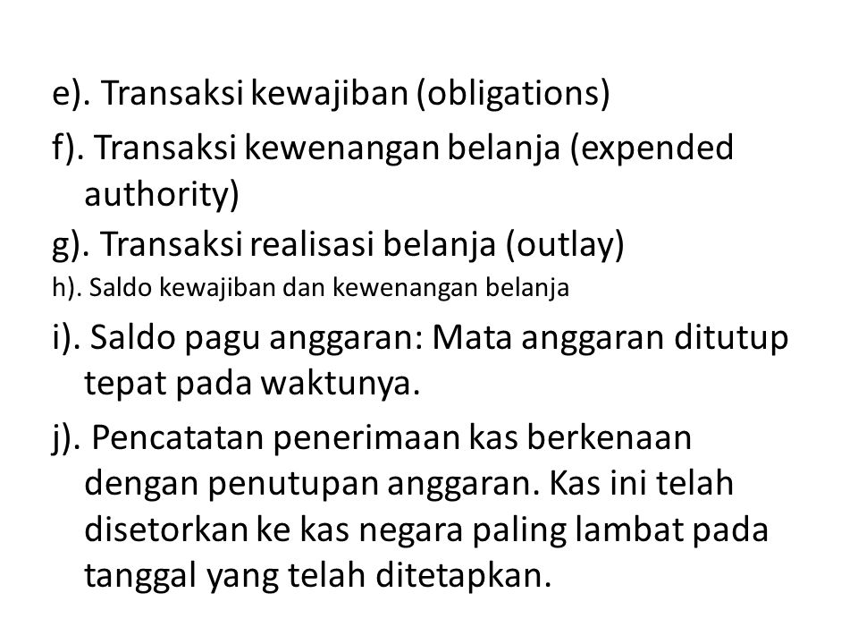 e). Transaksi kewajiban (obligations)