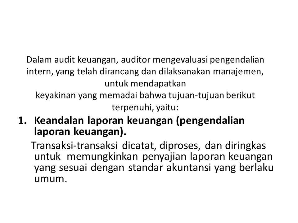 Keandalan laporan keuangan (pengendalian laporan keuangan).