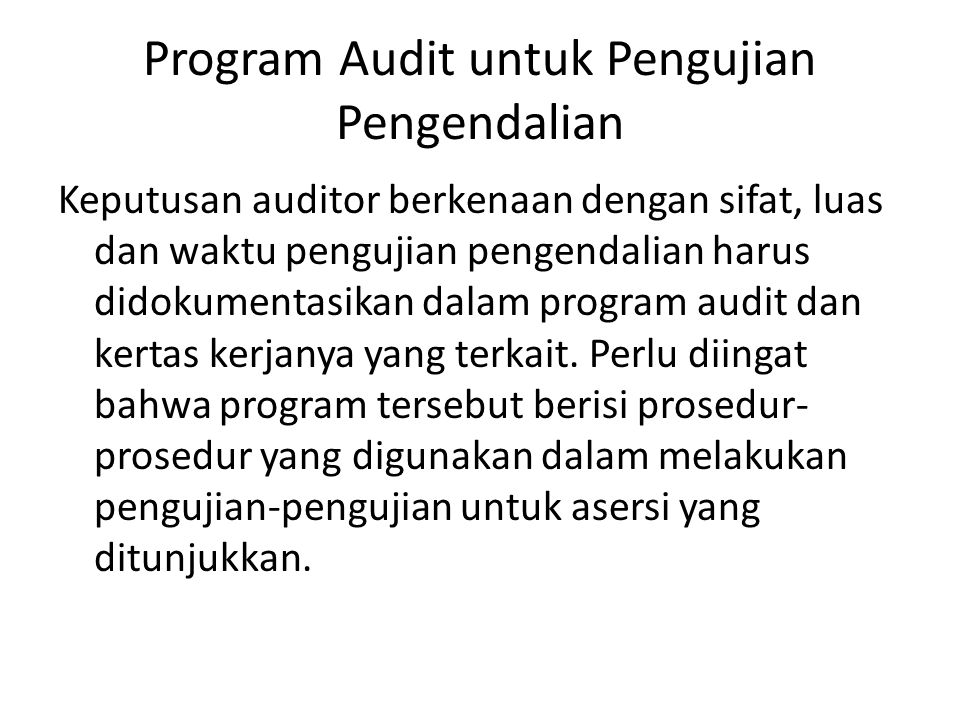 Program Audit untuk Pengujian Pengendalian