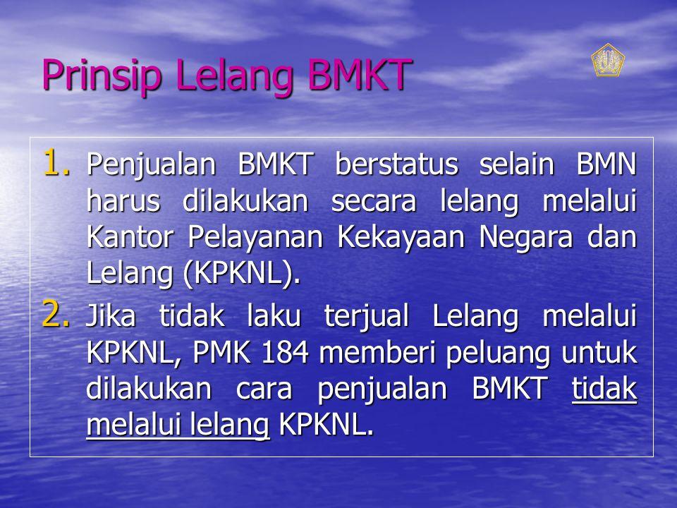 Prinsip Lelang BMKT Penjualan BMKT berstatus selain BMN harus dilakukan secara lelang melalui Kantor Pelayanan Kekayaan Negara dan Lelang (KPKNL).