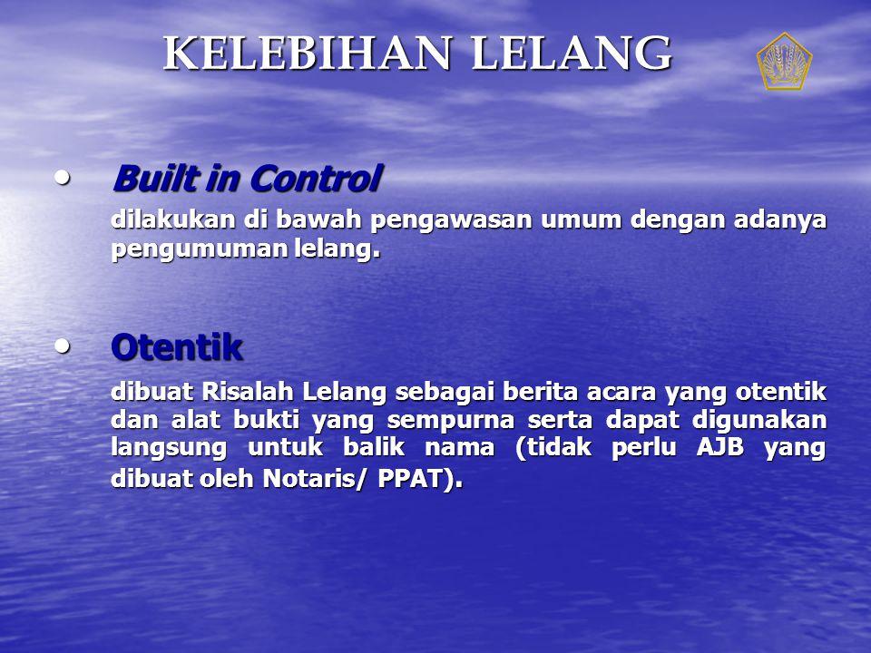 KELEBIHAN LELANG Built in Control Otentik