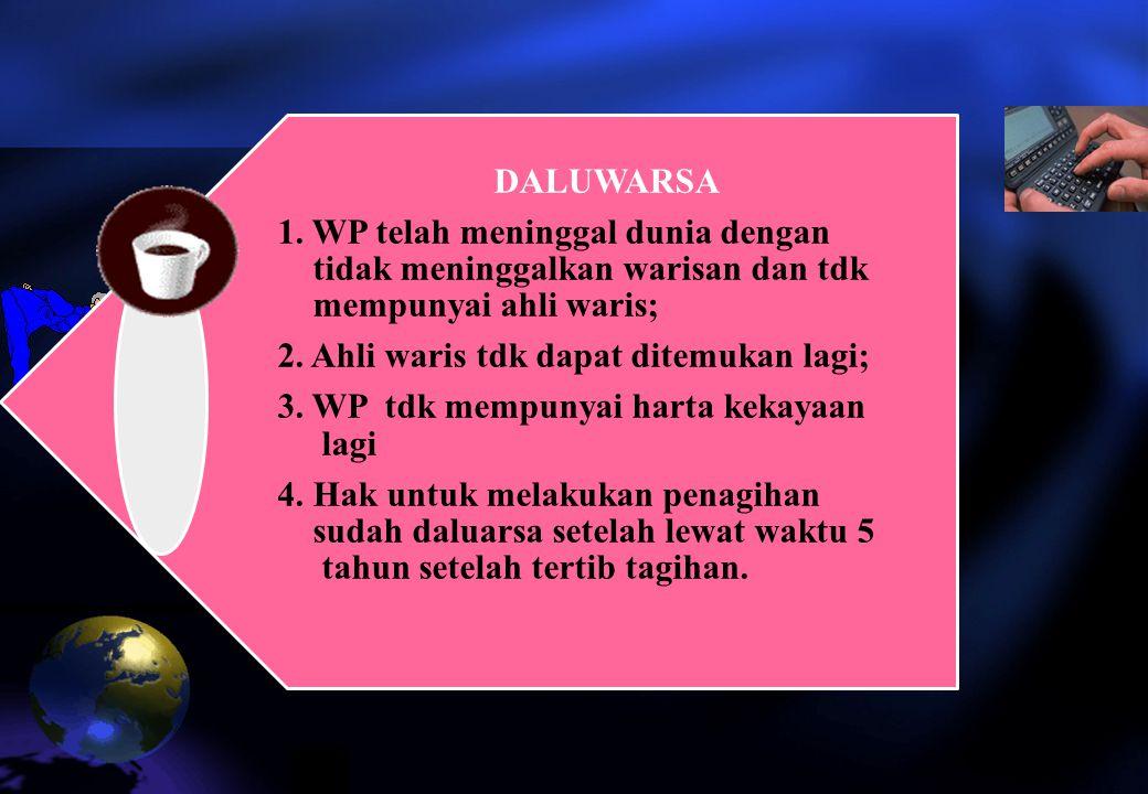 DALUWARSA 1. WP telah meninggal dunia dengan tidak meninggalkan warisan dan tdk mempunyai ahli waris;