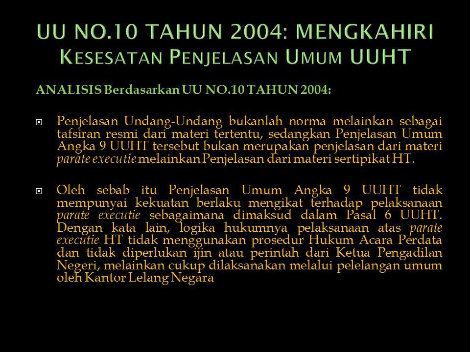 UU NO.10 TAHUN 2004: MENGKAHIRI Kesesatan Penjelasan Umum UUHT