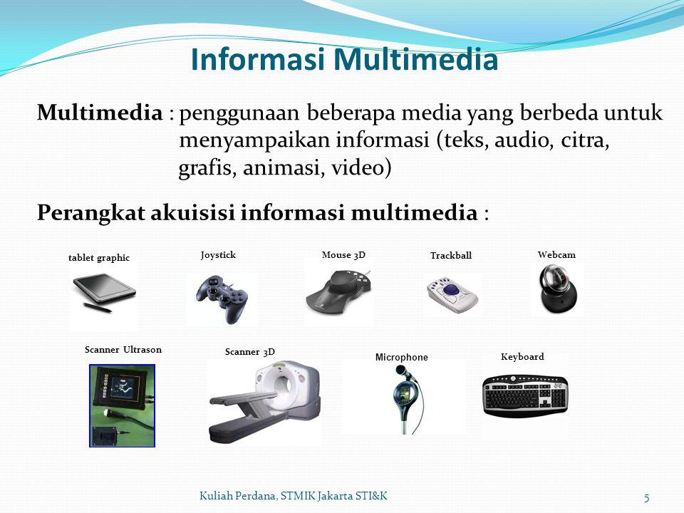 Informasi Multimedia Multimedia : penggunaan beberapa media yang berbeda untuk. menyampaikan informasi (teks, audio, citra,