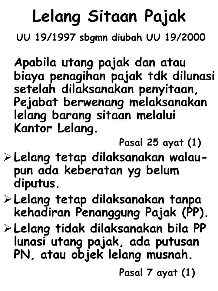 Lelang Sitaan Pajak UU 19/1997 sbgmn diubah UU 19/2000