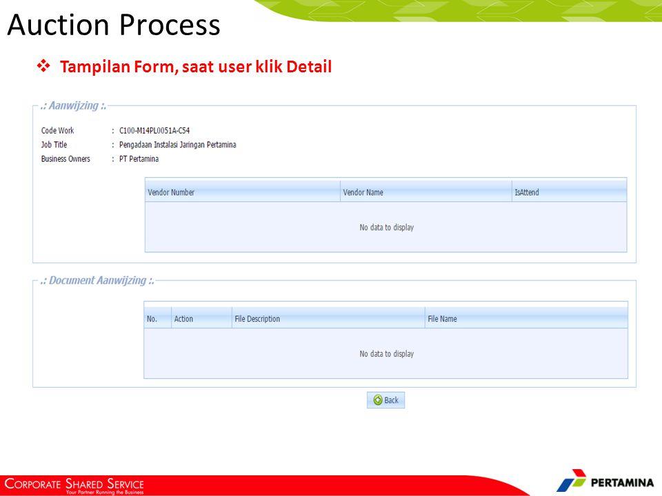 Tampilan form, saat vendor klik Action