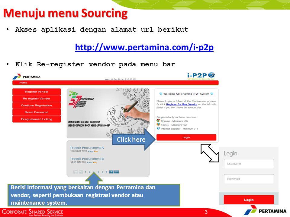 Sub Menu Sourcing Langkah pertama untuk register lelang