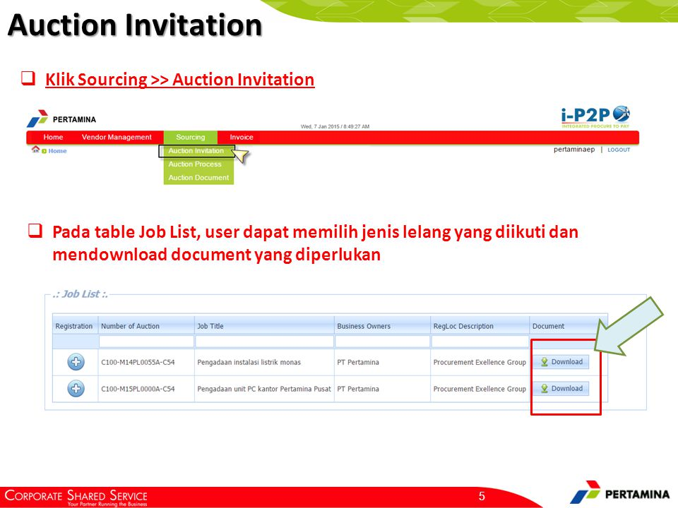 Selanjutnya, Proses registrasi akan masuk ke Auction Process