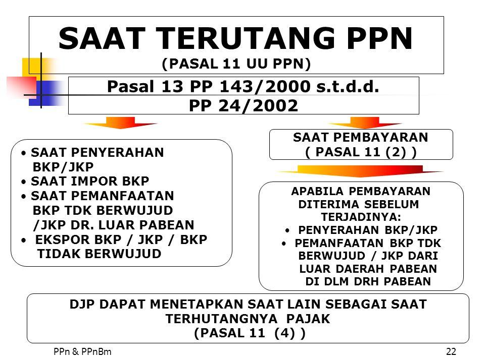 SAAT TERUTANG PPN (PASAL 11 UU PPN)