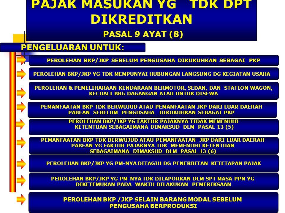 PAJAK MASUKAN YG TDK DPT DIKREDITKAN PASAL 9 AYAT (8)