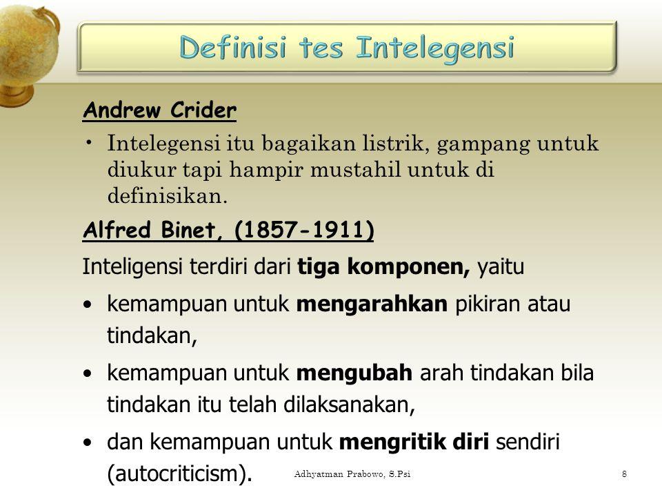 Definisi tes Intelegensi