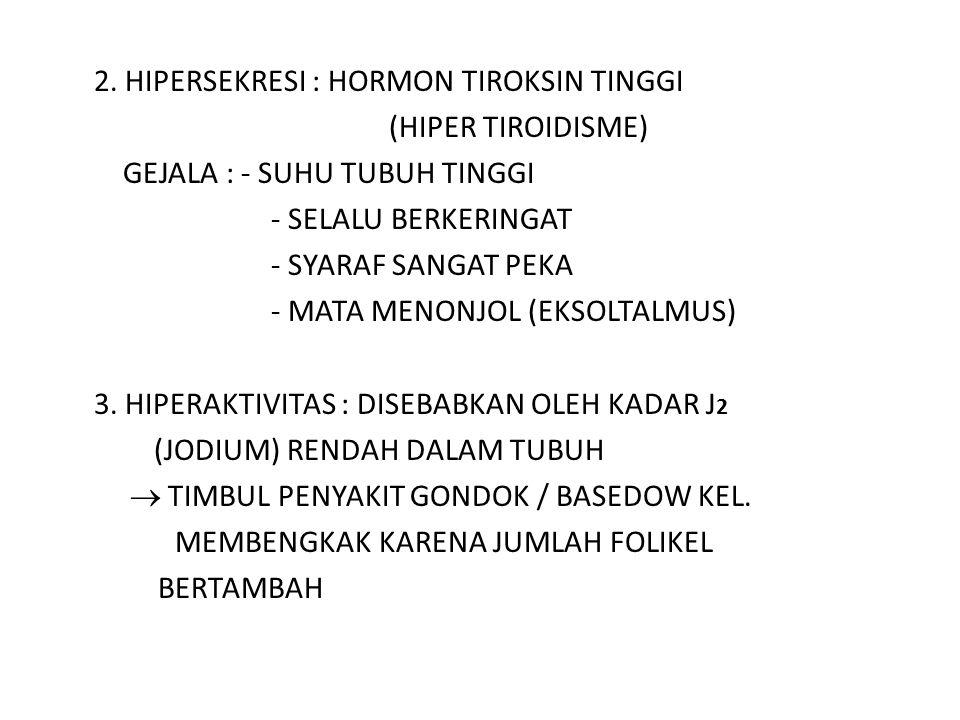 2. HIPERSEKRESI : HORMON TIROKSIN TINGGI (HIPER TIROIDISME)