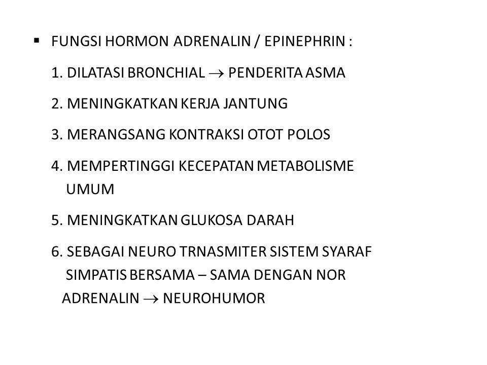 FUNGSI HORMON ADRENALIN / EPINEPHRIN :
