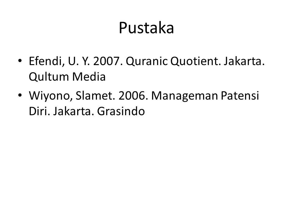 Pustaka Efendi, U. Y. 2007. Quranic Quotient. Jakarta. Qultum Media