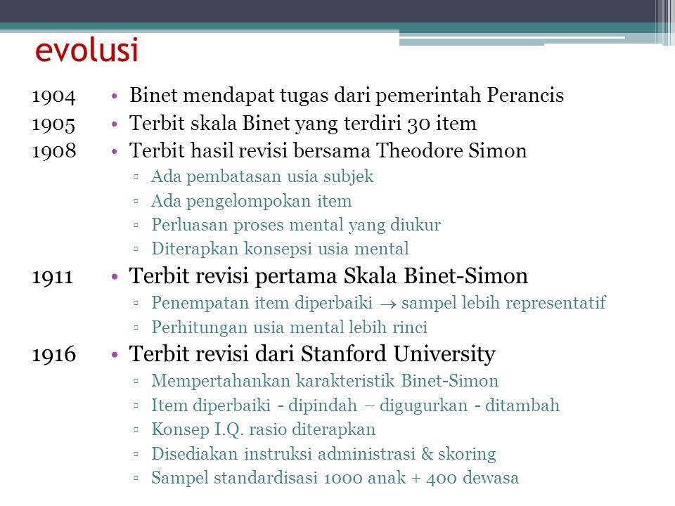 evolusi 1911 1916 Terbit revisi pertama Skala Binet-Simon