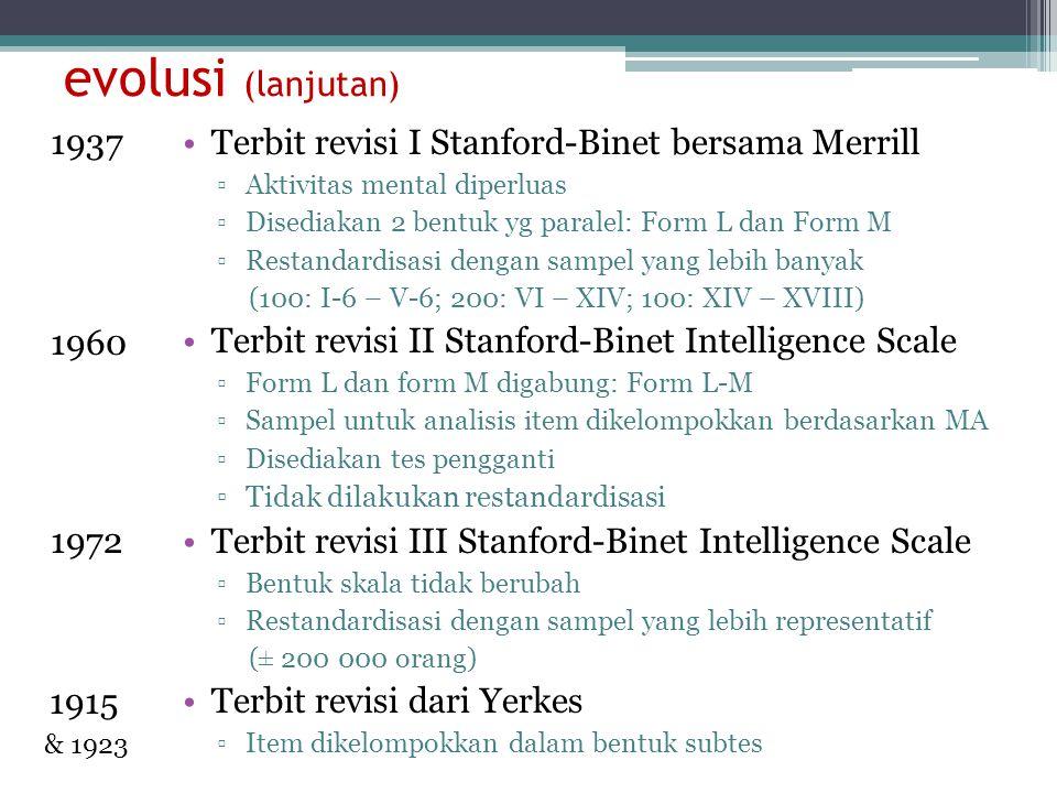 evolusi (lanjutan) 1937. 1960. 1972. 1915. & 1923. Terbit revisi I Stanford-Binet bersama Merrill.