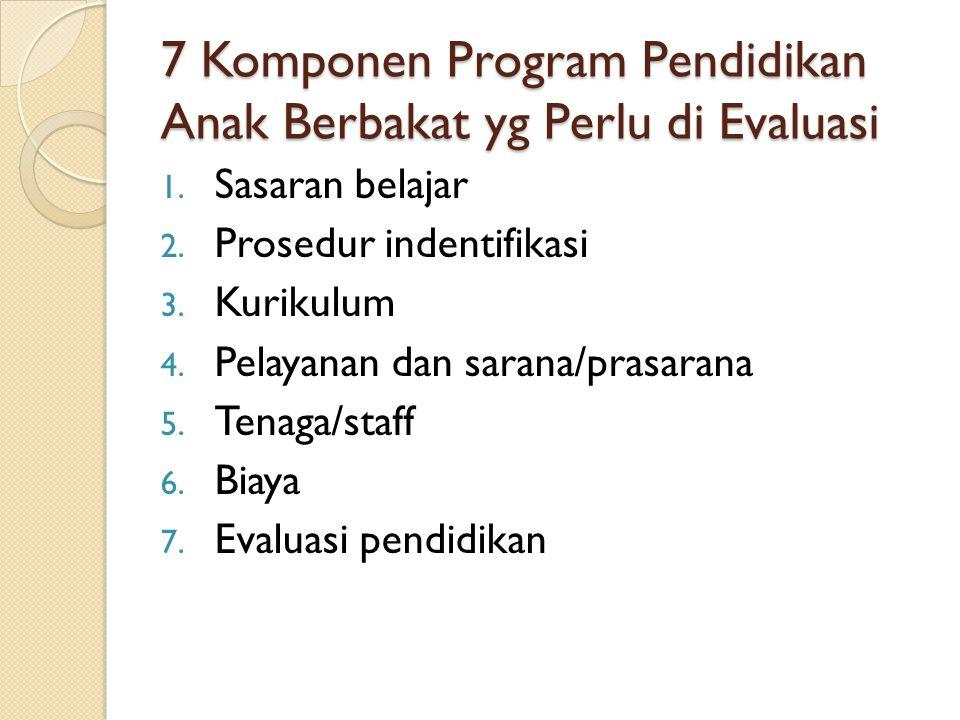 7 Komponen Program Pendidikan Anak Berbakat yg Perlu di Evaluasi