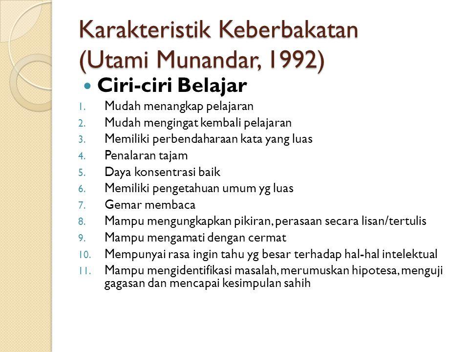 Karakteristik Keberbakatan (Utami Munandar, 1992)
