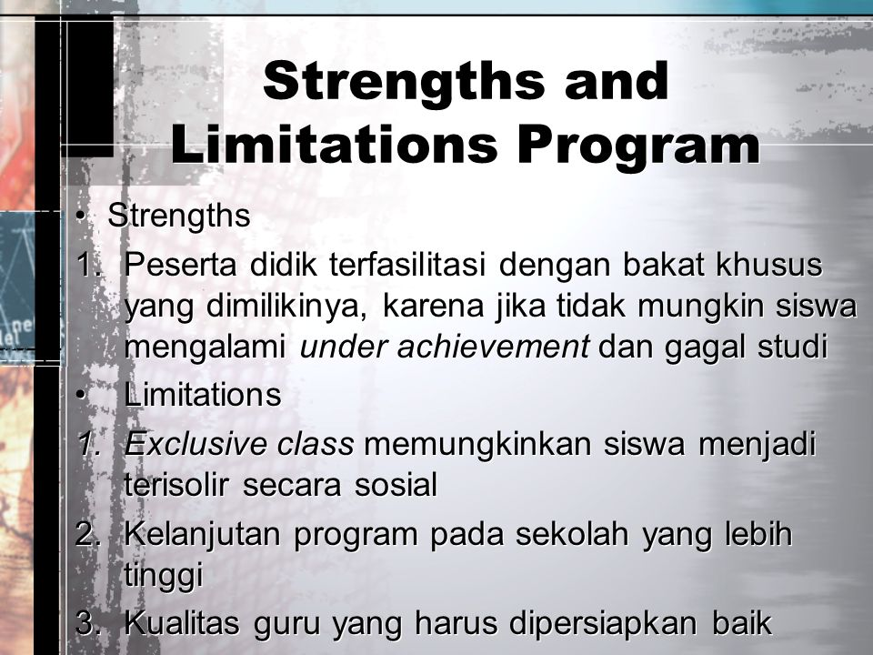 Strengths and Limitations Program