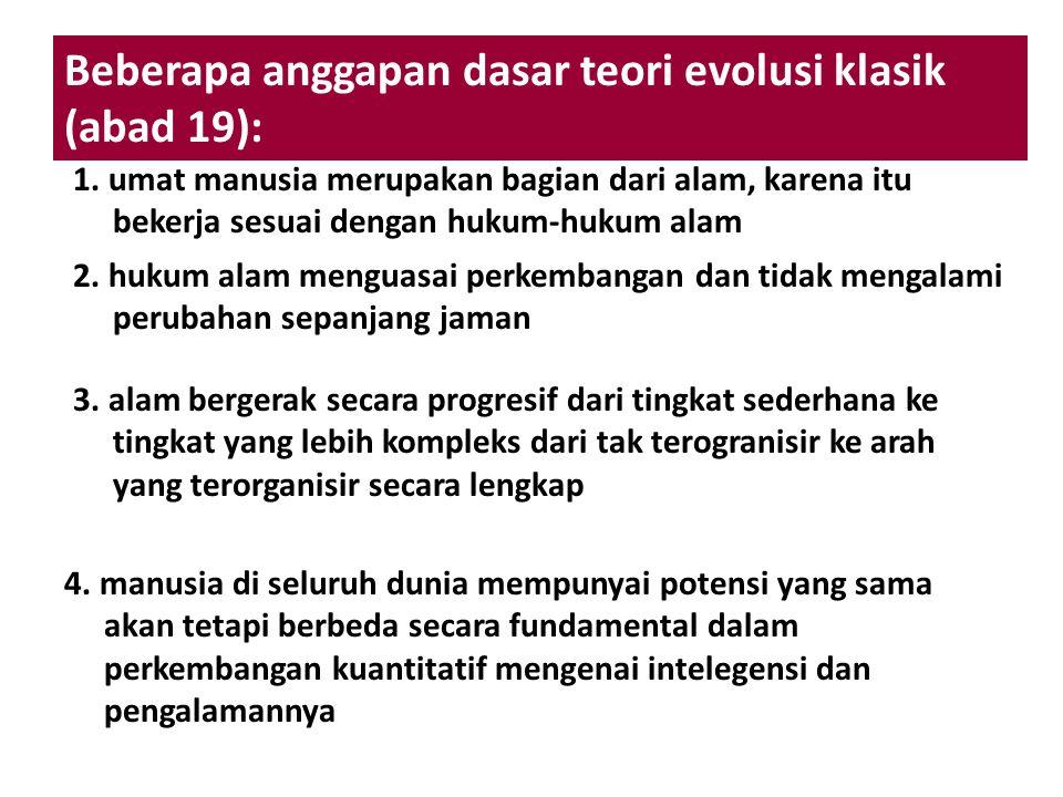 Beberapa anggapan dasar teori evolusi klasik (abad 19):