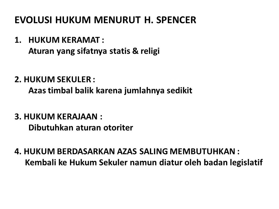 EVOLUSI HUKUM MENURUT H. SPENCER