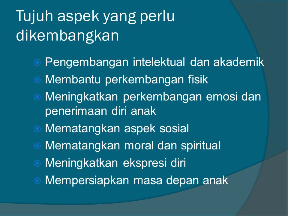 Tujuh aspek yang perlu dikembangkan