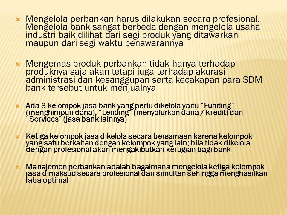 Mengelola perbankan harus dilakukan secara profesional