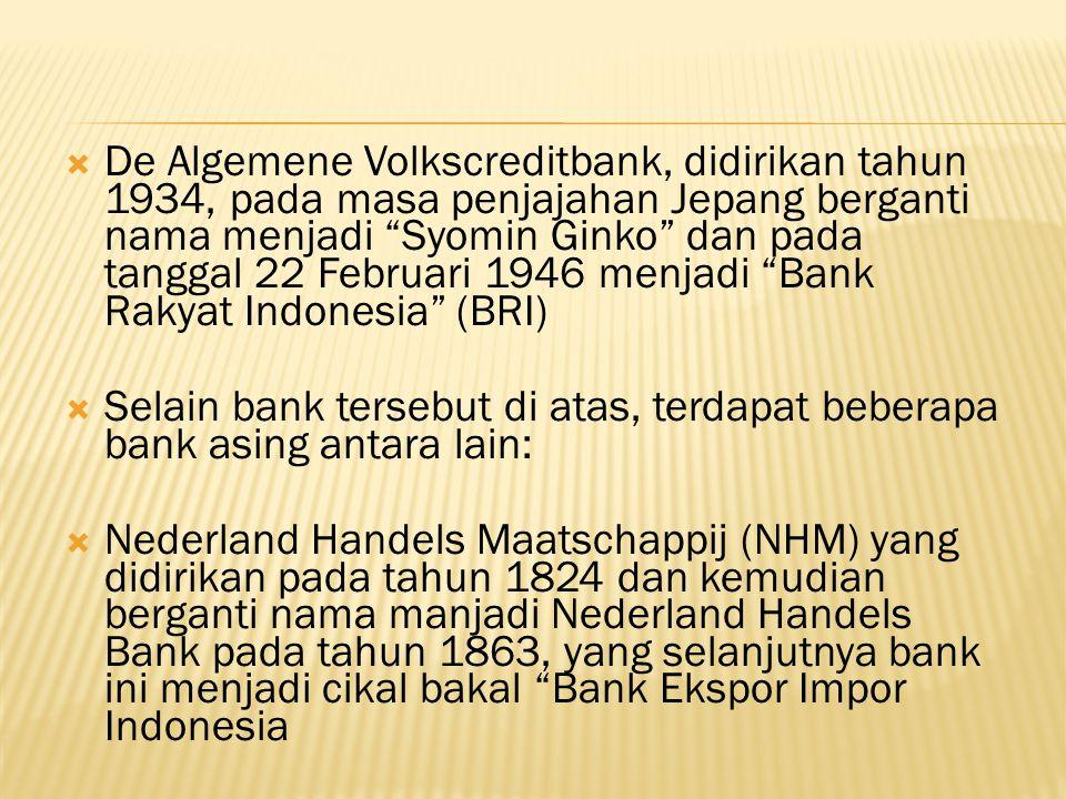 De Algemene Volkscreditbank, didirikan tahun 1934, pada masa penjajahan Jepang berganti nama menjadi Syomin Ginko dan pada tanggal 22 Februari 1946 menjadi Bank Rakyat Indonesia (BRI)