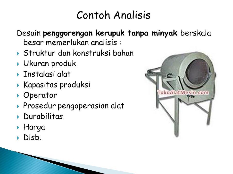 Contoh Analisis Desain penggorengan kerupuk tanpa minyak berskala besar memerlukan analisis : Struktur dan konstruksi bahan.