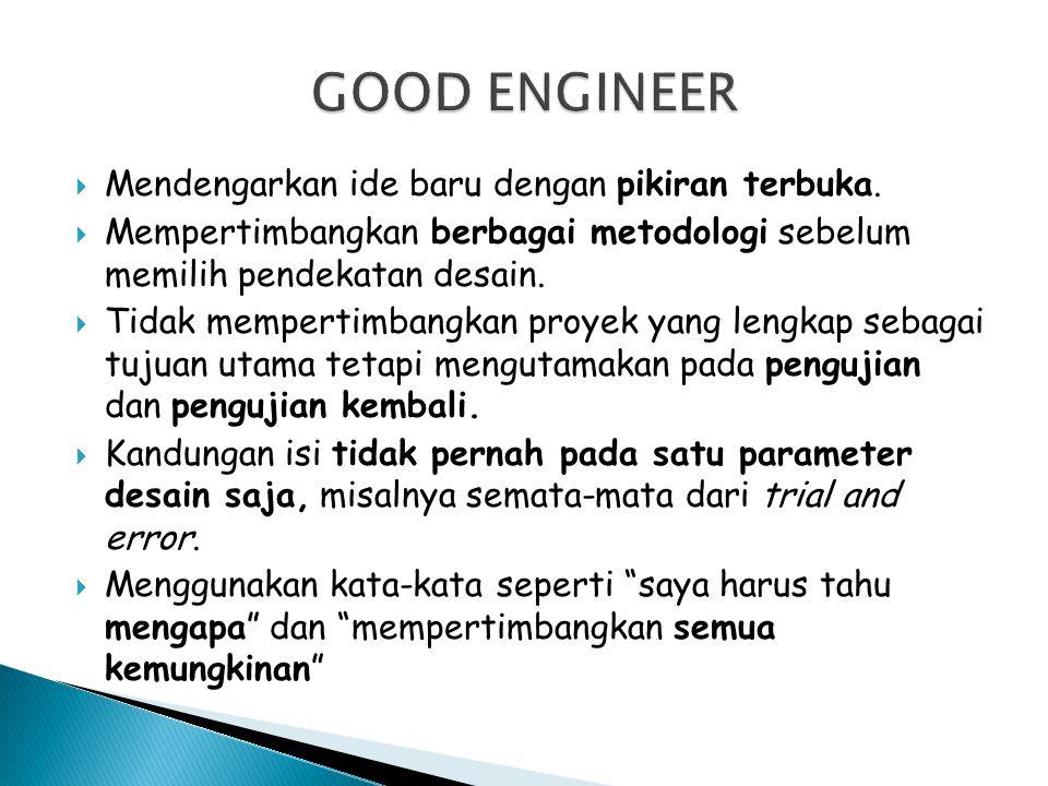GOOD ENGINEER Mendengarkan ide baru dengan pikiran terbuka.