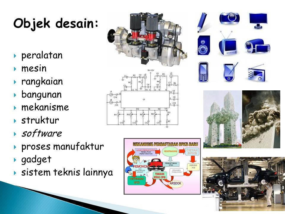 Objek desain: peralatan mesin rangkaian bangunan mekanisme struktur