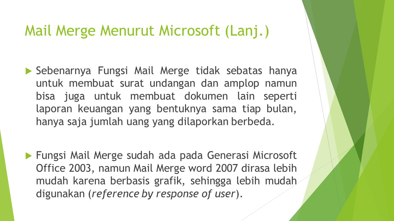 Mail Merge Menurut Microsoft (Lanj.)