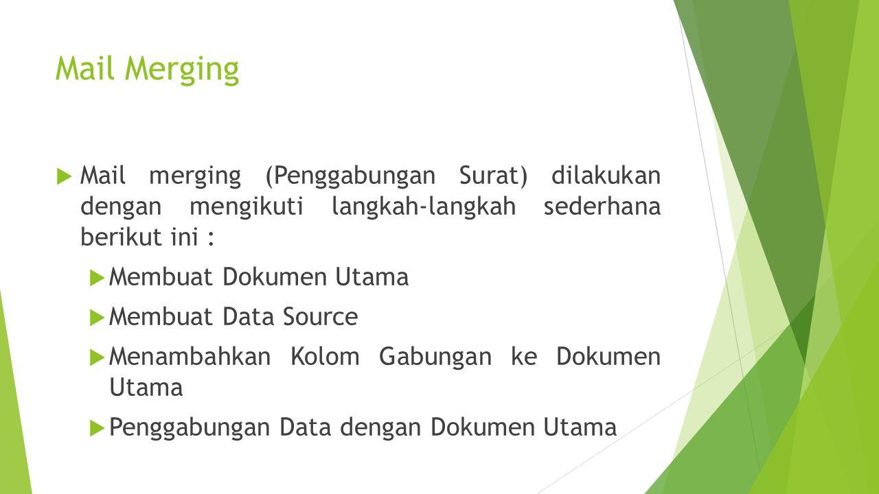 Mail Merging Mail merging (Penggabungan Surat) dilakukan dengan mengikuti langkah-langkah sederhana berikut ini :