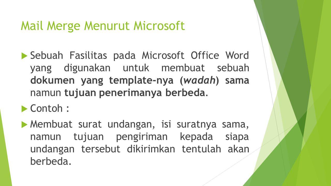 Mail Merge Menurut Microsoft
