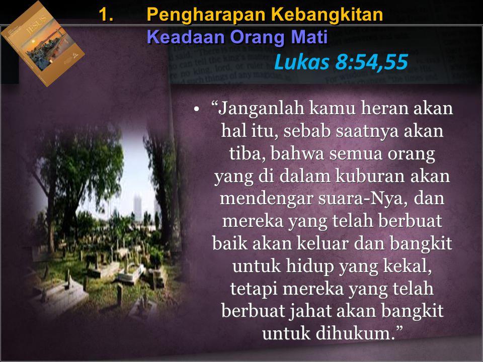 Lukas 8:54,55 1. Pengharapan Kebangkitan Keadaan Orang Mati
