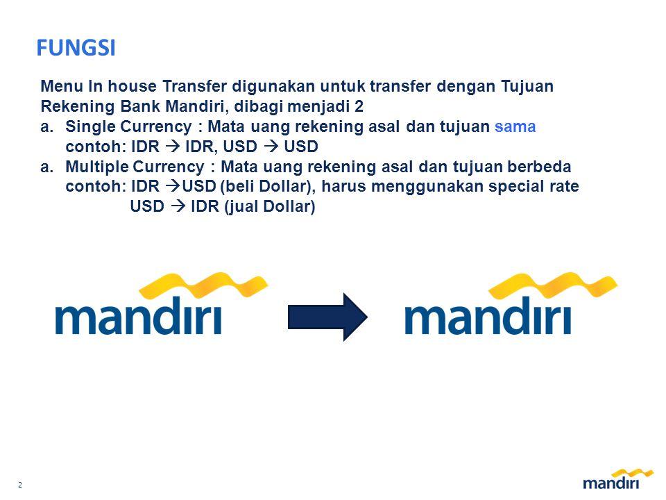 FUNGSI Menu In house Transfer digunakan untuk transfer dengan Tujuan Rekening Bank Mandiri, dibagi menjadi 2.