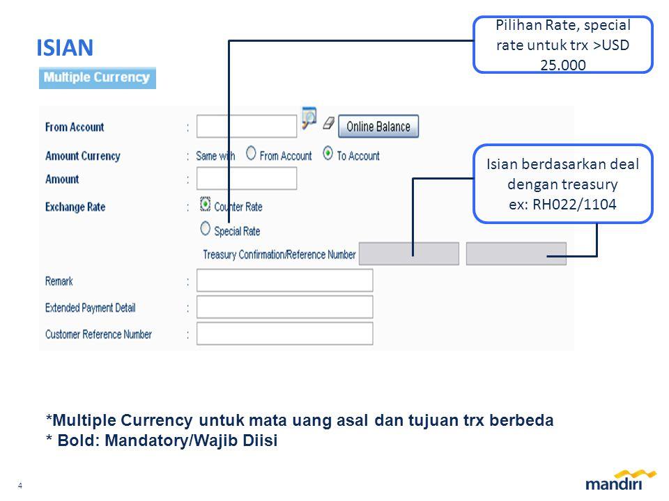 ISIAN Pilihan Rate, special rate untuk trx >USD 25.000