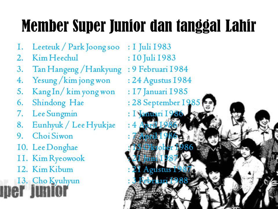 Member Super Junior dan tanggal Lahir