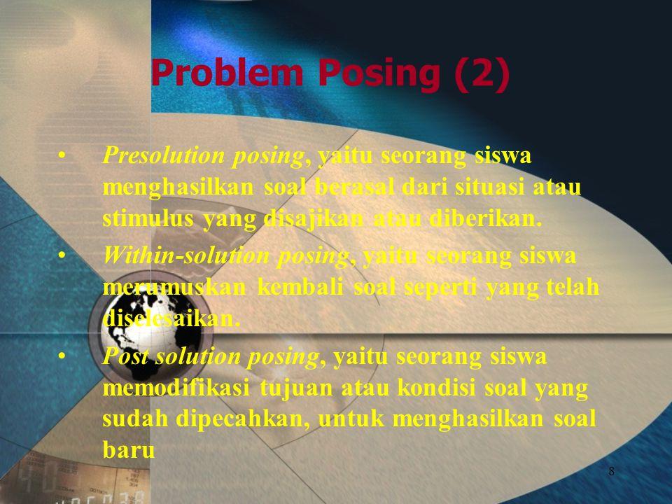Problem Posing (2) Presolution posing, yaitu seorang siswa menghasilkan soal berasal dari situasi atau stimulus yang disajikan atau diberikan.