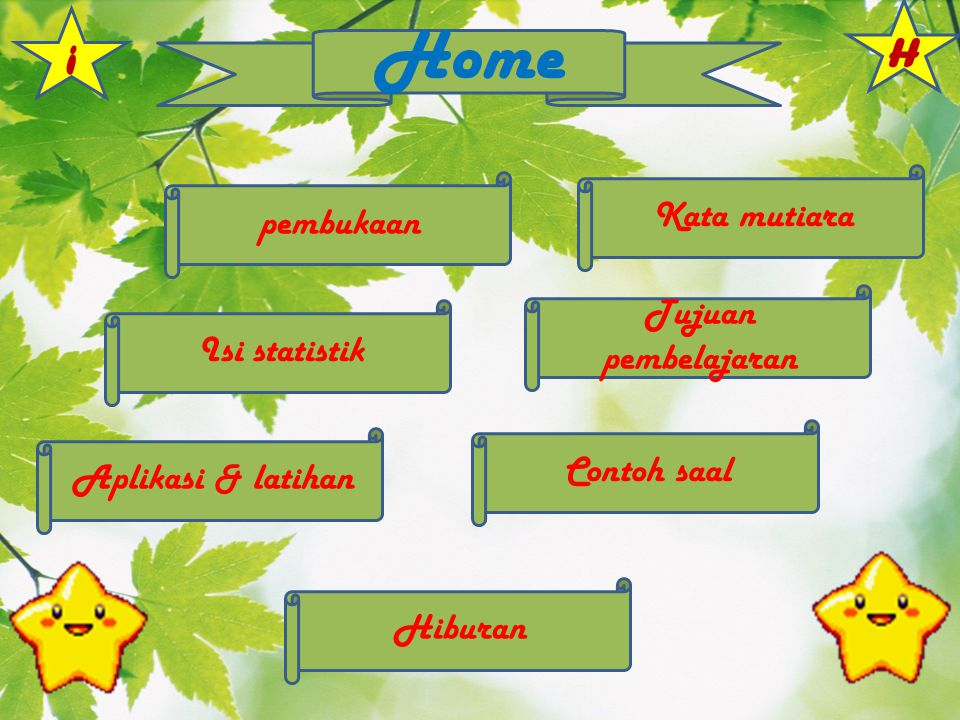 Home H i Kata mutiara pembukaan Tujuan pembelajaran Isi statistik