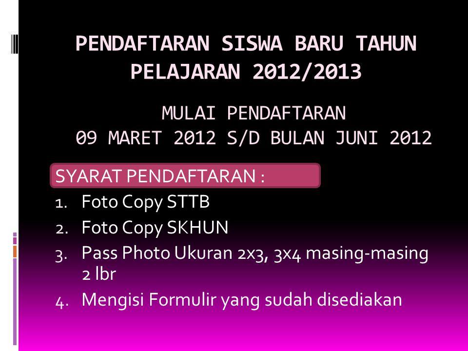 PENDAFTARAN SISWA BARU TAHUN PELAJARAN 2012/2013