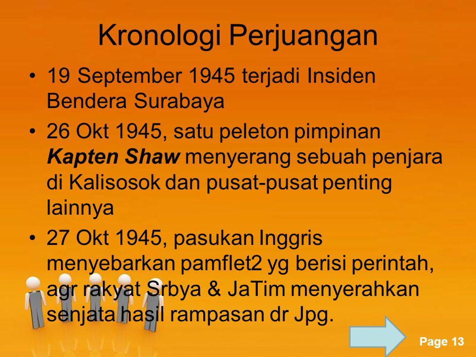 Kronologi Perjuangan 19 September 1945 terjadi Insiden Bendera Surabaya.