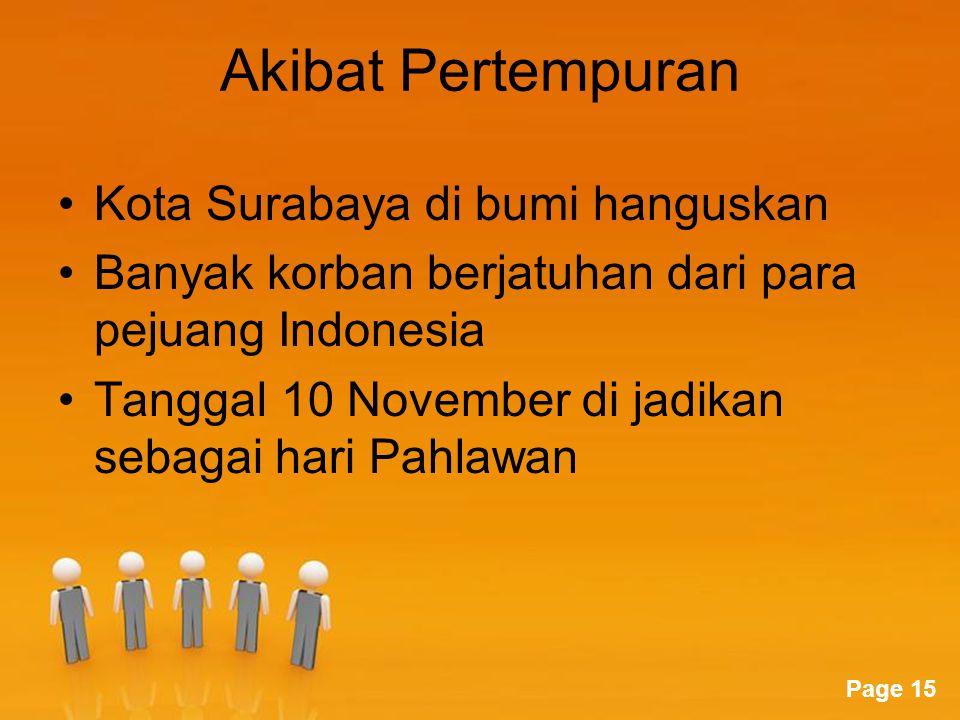 Akibat Pertempuran Kota Surabaya di bumi hanguskan