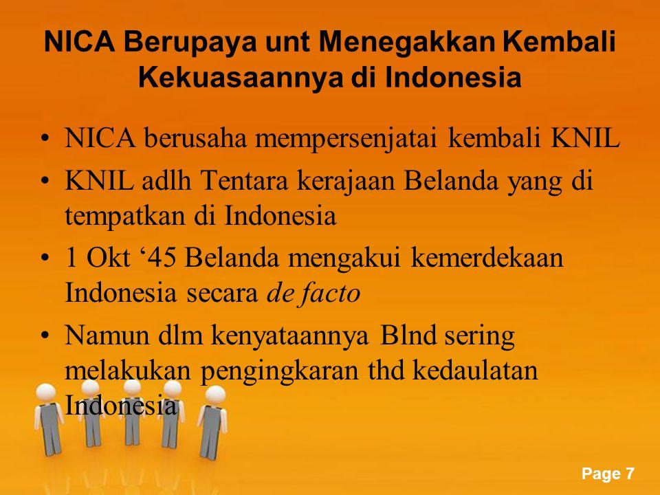 NICA Berupaya unt Menegakkan Kembali Kekuasaannya di Indonesia