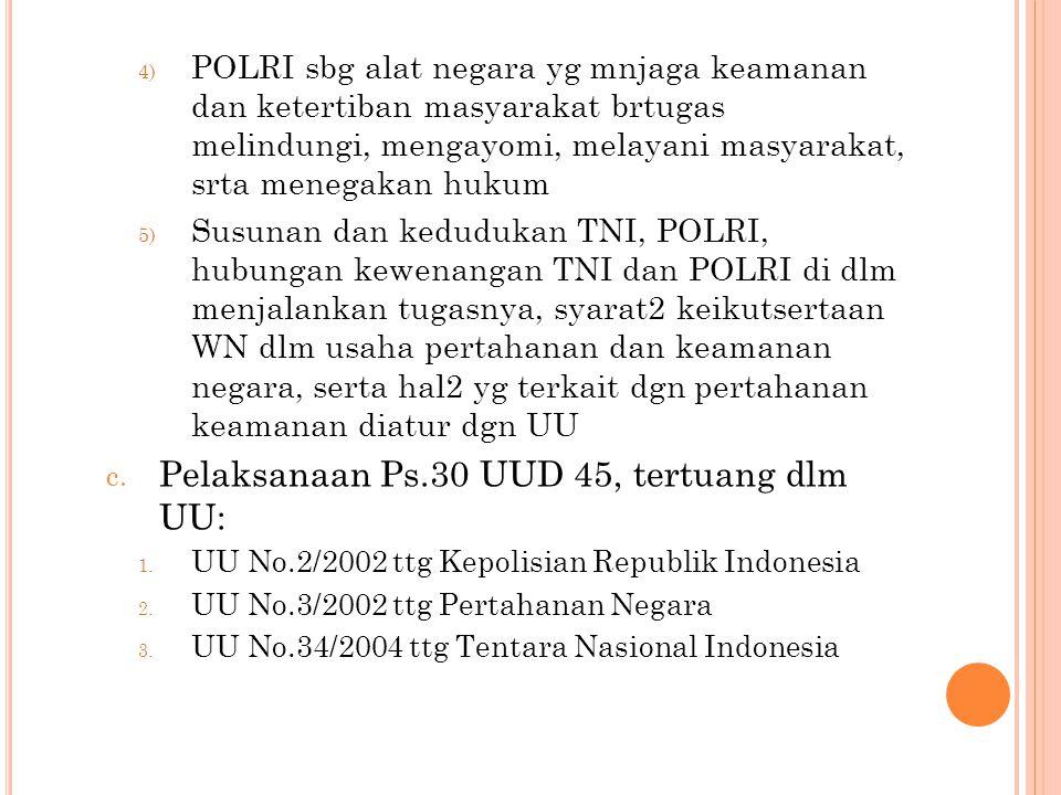 Pelaksanaan Ps.30 UUD 45, tertuang dlm UU: