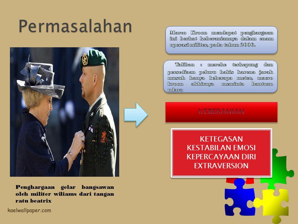 Permasalahan Marco Kroon mendapat penghargaan ini berkat keberaniannya dalam enam operasi militer, pada tahun 2006.