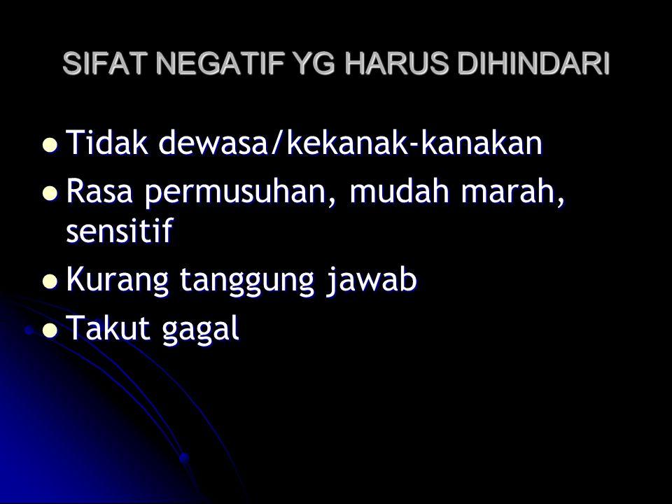 SIFAT NEGATIF YG HARUS DIHINDARI